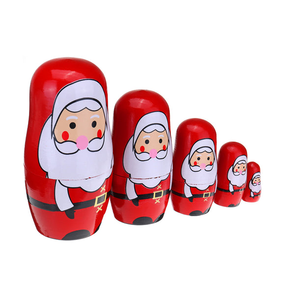 5PCS Russian Doll Wooden Nesting Doll Handcraft Decoration Christmas Gifts