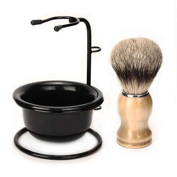3 in 1 Men's Shaving Set Drip Brush Stand + Badger Hairbrush + Plastic Bowl Mug