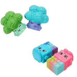 4PCS Broccoli Waffles Squishy 6.5*3.5CM Slow Rising Soft Collection Gift Decor Toy