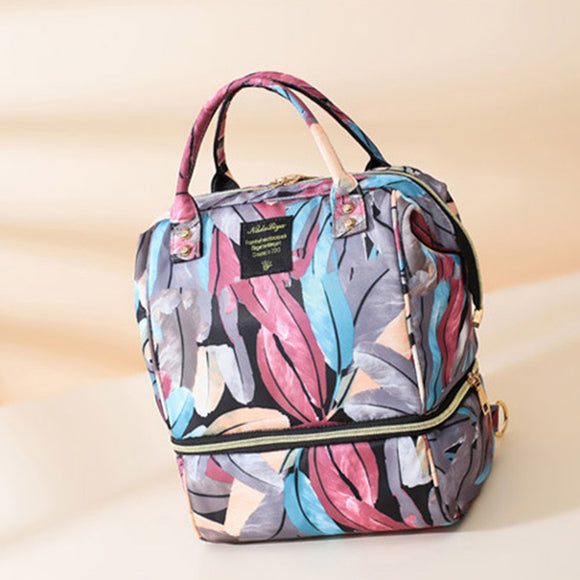 Women Canvas Casual Mummy And Kids Patchwork Backpack Handbag