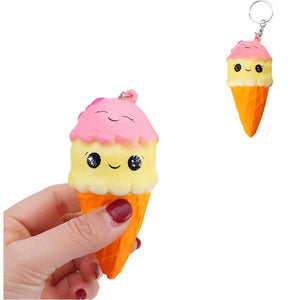 Squishy Ice Cream Cone 10*5.5cm Slow Rising With Key Chain Collection Gift Soft Toy