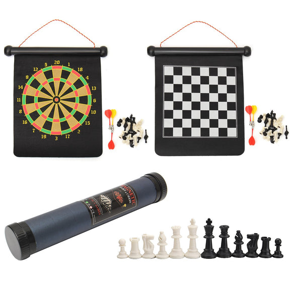 2 In 1 Travel Suspended Target Darts Outdoor Double-sided Magnetic Chess Plate Roll-up Game Tools