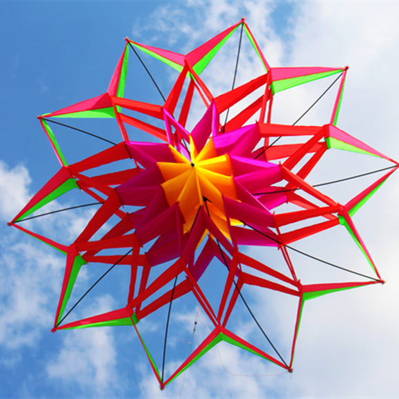 3D Rainbow Colorful Flower Kite Single Line Outdoor Toy Flying For Kids Sport