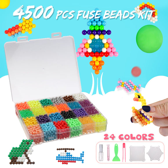 4500PCS Magic Water Sticky Beads Fuse Beads Refill Jigsaw Puzzle Toy Art Crafts Toys 24 Colors