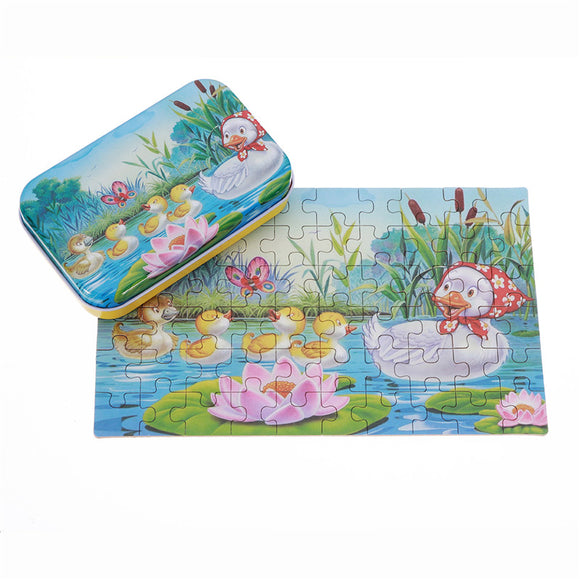 60pcs DIY Puzzle Duck Fairy Tale Cartoon 3D Jigsaw With Tin Box