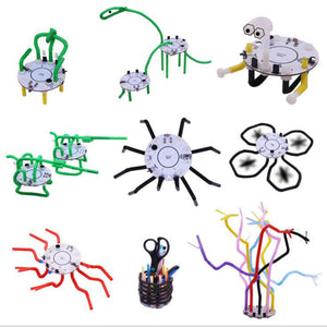 101 DIY Straw Robot Smart Robot Light Voice Touch Control Educational Toy Robot For Children
