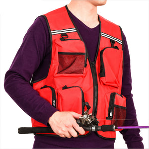 LEO XL XXL Fabric Canvas Light Weight Vest Red Grey Outdoor Photography Fishing Vest