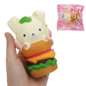 Squishy Puppy Hamburger 4.6in 11.7cm Slow Rising Cartoon Gift Collection Soft Toy