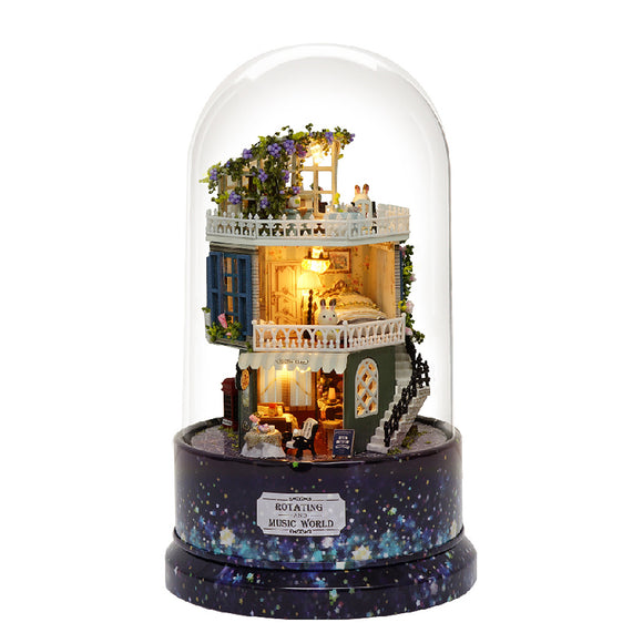 DIY Glass Ball Doll House Star Dreams Miniature Furniture Kit Rotary Music LED Light Kids Gift