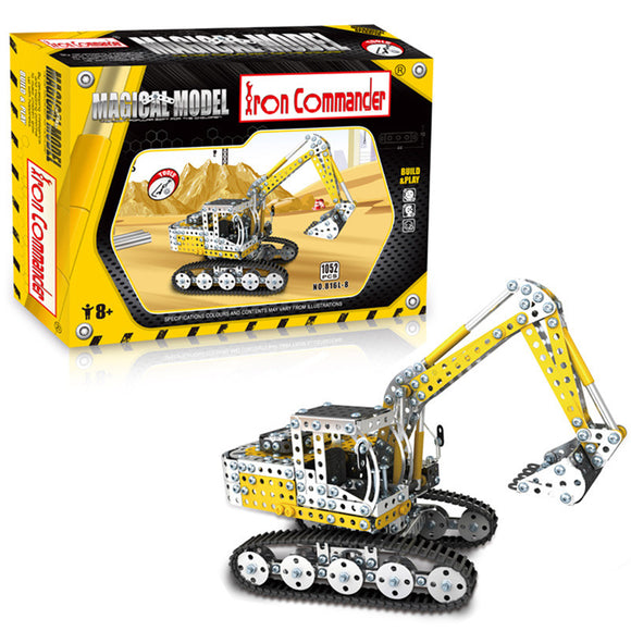 1052PCS Full Alloy Jigsaw Puzzles Excavator Model Building Blocks Toy