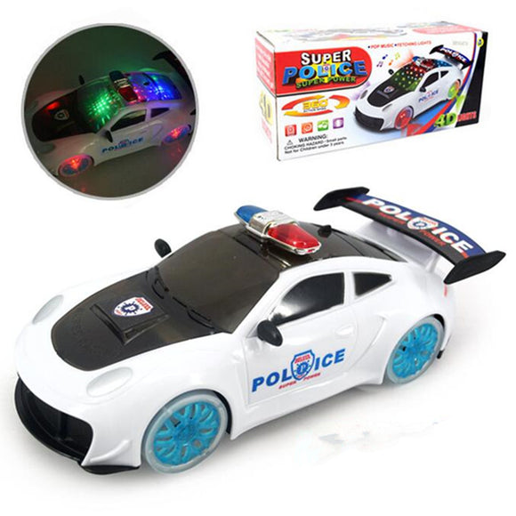Police Car Truck Model Toys Gift For Kids Boys 360 Rotate With Music & Light