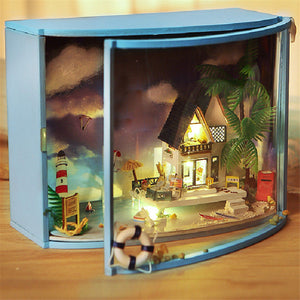DIY LED Sea-view Dollhouse Miniature Wooden Furniture Kit Doll House Christmas Gifts