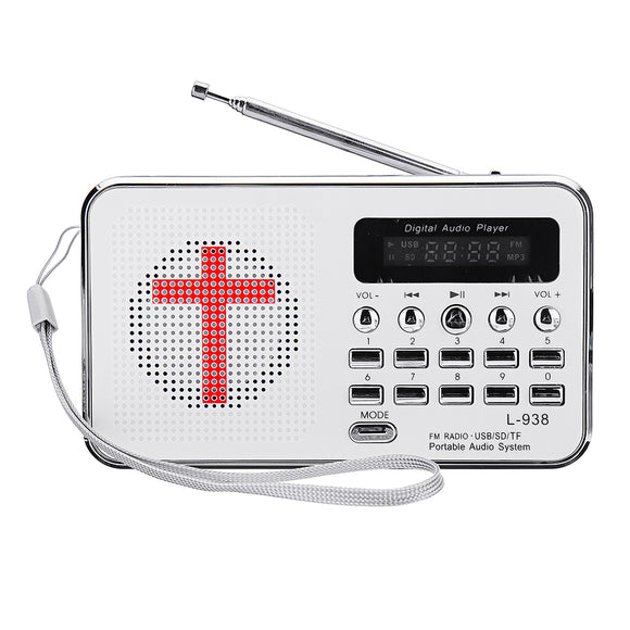 Bible MP3 Audio Music Player Portable Mini FM Radio TF USB LED Display Digital Keypad Function For E