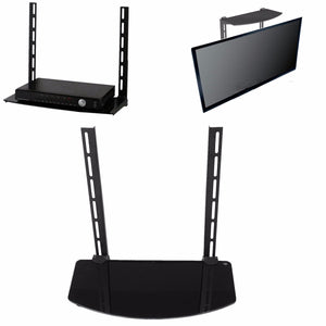 Glass Shelf TV Wall Mount Bracket Component Above Below Under Cable Box DVR DVD