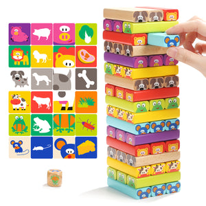 TopBright 120314 Wooden Tower Building Blocks Toys Animal Domino 8.5*8.8*28.5CM Christmas Gift