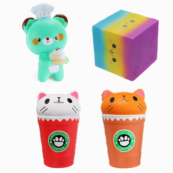 4PCS Cartoon Coffee Cup Bear Square Cake Squishy Slow Rising Toy Package
