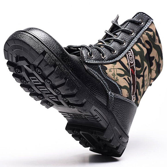 Winter Mens Camouflage Steel toe Fur Lined work Ankle boots Labor Safety shoes
