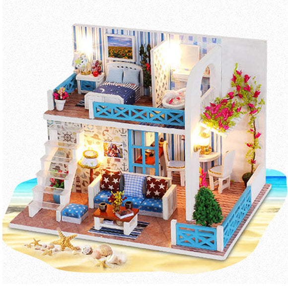 Handcraft DIY Doll House Sea Wooden Miniature Furniture Dollhouse Gift