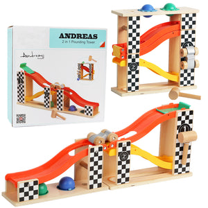 TopBright 150168 Track Toys  2 in 1 Pounding Tower Racing Slide Ladder 31CM Educational Gift