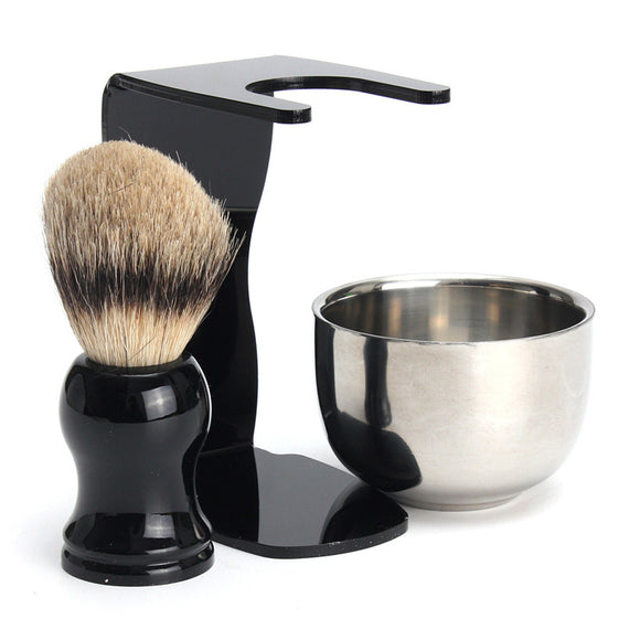 3 in 1 Men's Shaving Kits Badger Hairbrush + Stand + Stainless Steel Bowl Set