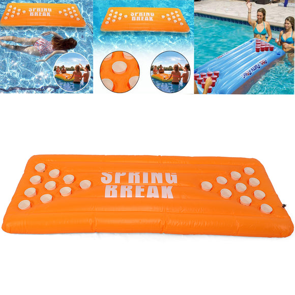 Inflatable Beer Pong Ball Table Water Floating Raft Lounge Pool Game 20 Cups Holder
