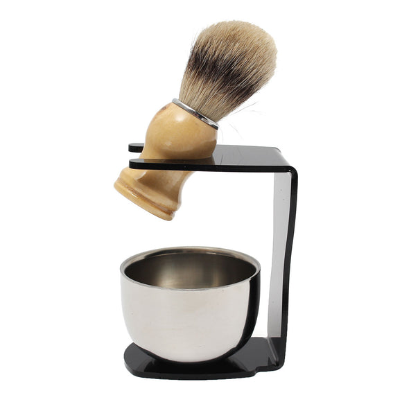 3 in 1 Men's Shaving Set Drip Brush Stand + Badger Hairbrush + Stainless Steel Bowl Mug