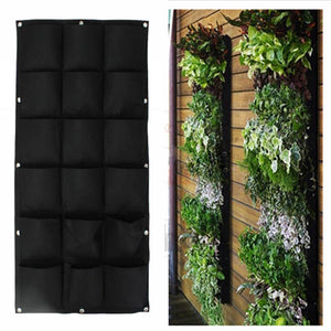 18 Pockets Wall Haning Felt Planter Bags Indoor Outdoor Plant Growing Bag