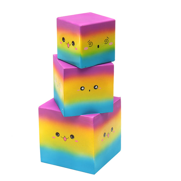 3PCS Huge Squishy Square Cake Rainbow Colour Kawaii Cute Soft Solw Rising Toy Cartoon Gift Collectio