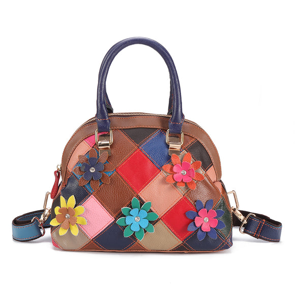 Women Genuine Leather Patchwork Handbag Shell Floral Crossbody Bags Bohemian Shoulder Bags