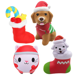4PCS Christmas Gift Squishy Sock Puppy Dog Christmas Sock Smile Cat Doll Jumbo Toys