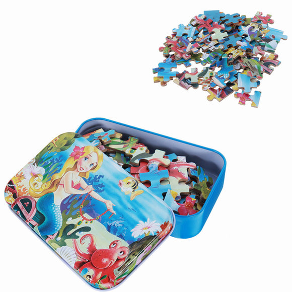 60pcs DIY Puzzle Mermaid Cartoon 3D Jigsaw With Tin Box