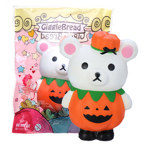 GiggleBread Halloween Pumpkin Bear Squishy 13*9.5*6.5CM Licensed Slow Rising With Packaging