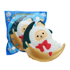 Christmas Moon Sheep Lamb Squishy 10.4*8.4CM Cute Slow Rising Toy Decor Gift With Original Packing
