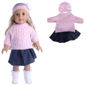 Sweater Cap Jeans Dress Coat Doll Set For 18 American Girl My Life Doll Accessories""