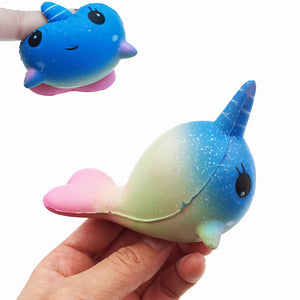 Squishy Unicorn Whale 7.9CM Slow Rising Straps Rainbow Dolphin Squeeze Toy With Packaging