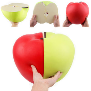Huge Squishy 9.45in 24cm Half Apple Green Red Slow Rising Jumbo Giant