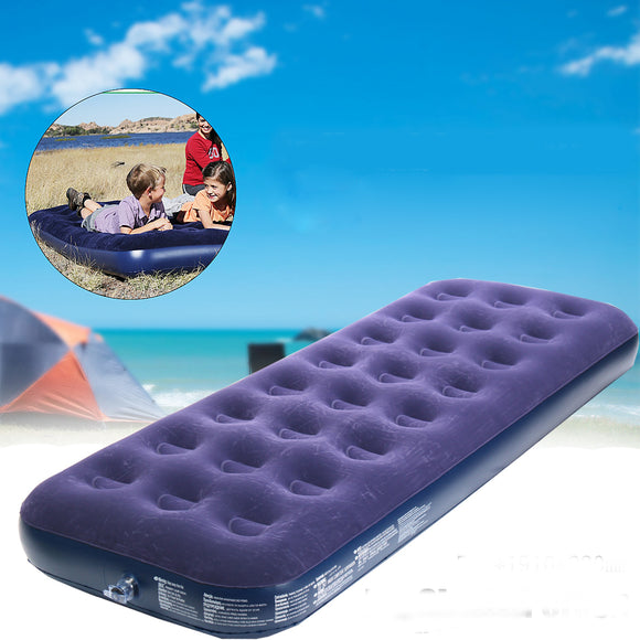 Outdoor Camping Portable Air Mat Inflatable Flocked Mattress Bed