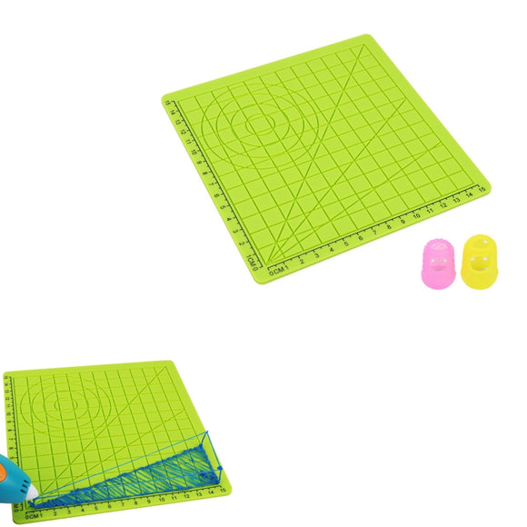 3D Printing Pen Silicone Design Mat with Basic Template + 2pcs Insulation Silicone Finger Caps