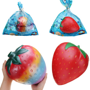 2PCS Giant Strawberry Squishy 26*22CM Huge Fruit Slow Rising Soft Toy Gift Collection With Packaging