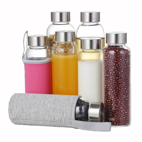 280ml 550ml Borosilicate Glass Water Bottles With Carry Bag Travel Leak-Proof Beverage Juicer Bottle