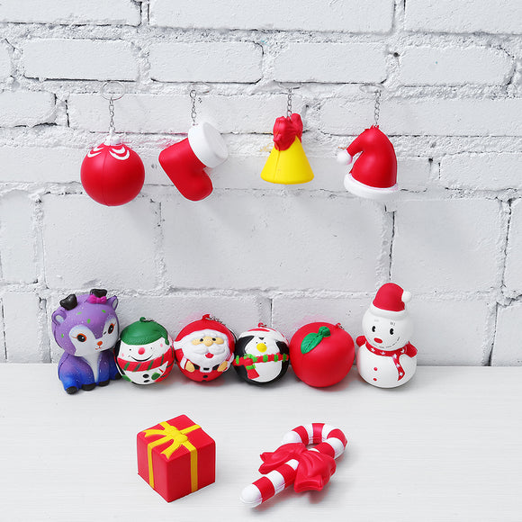 12PCS/Lot Christmas Squishy Package Gift Box Santa Clause Snowman Candy Bell Soft Slow Rising