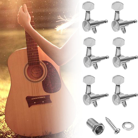 Chrome Electric Bass Guitar Tuning Peg 6 Inline 2 Pin Locking Tuning Keys Pegs Tuners