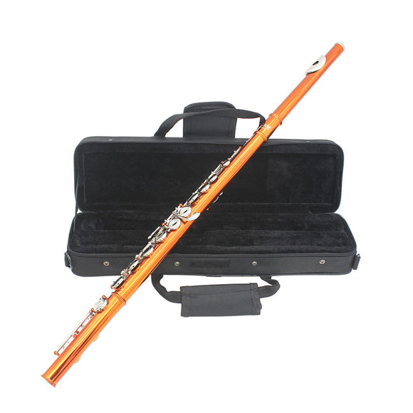 SLADE 16 Holes C Key Colored Flute Cupronickel Plated Silver Tube Woodwind Instrument with Box