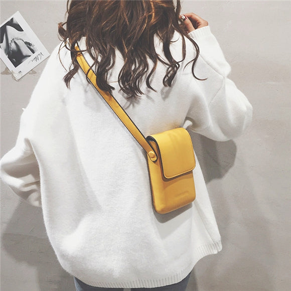 Women Leisure Solid Phone Purse Bucket Bag PU Leather Casual Crossbody Bag