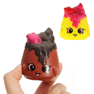 2Pcs Chocolate Pudding Squishy 6.5*3.5cm Slow Rising Soft Collection Gift Decor Toy