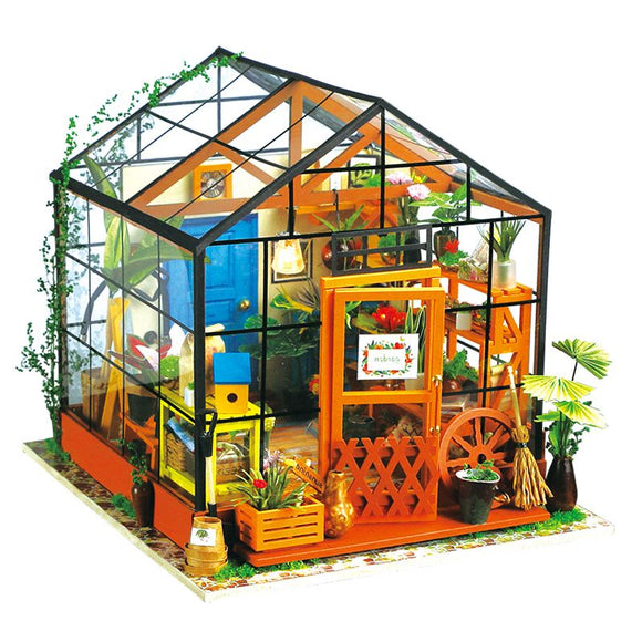 Robotime DIY Doll House Kit Cathy Flower Greenhouse DG104 Dollhouse Gift Decor