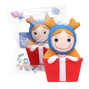 Christmas Elk Girl Squishy 14*7CM Slow Rising Soft Toy Gift Collection With Packaging