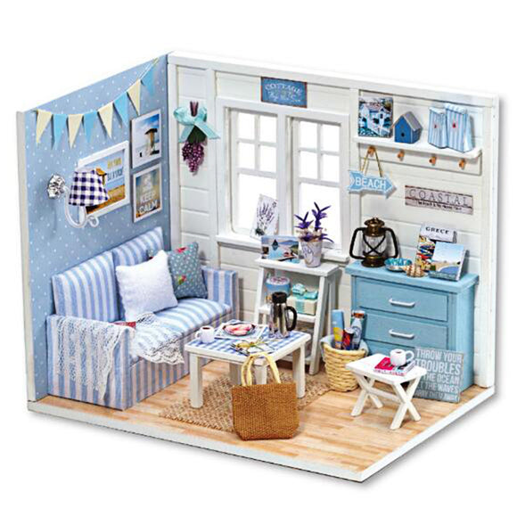 DIY Handcraft Miniature Doll House Kit My Little Boys Dollhouse Living Room