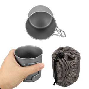 420ml Titanium Water Cup Portable Camping Picnic Drinking Mug With Lid