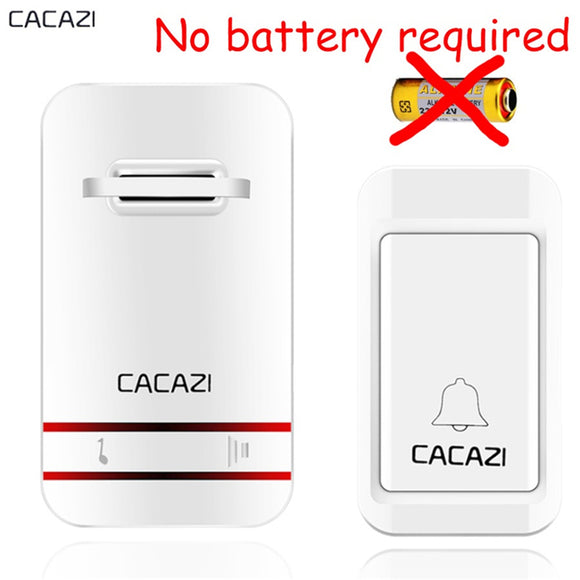 CACAZI Wireless Doorbell No Battery Need Waterproof Doorbell Cordless Remote AC 110V-220V EU US